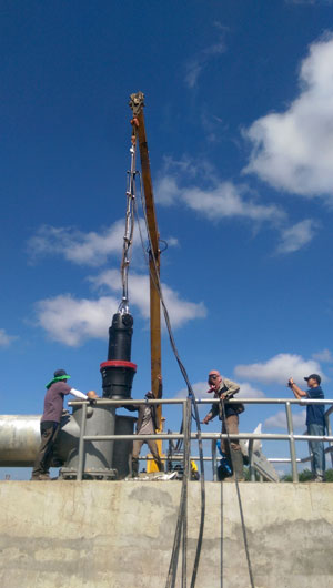 Installation of the pump in progress